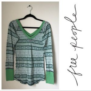 Free People Green Striped Long Sleeve Tee